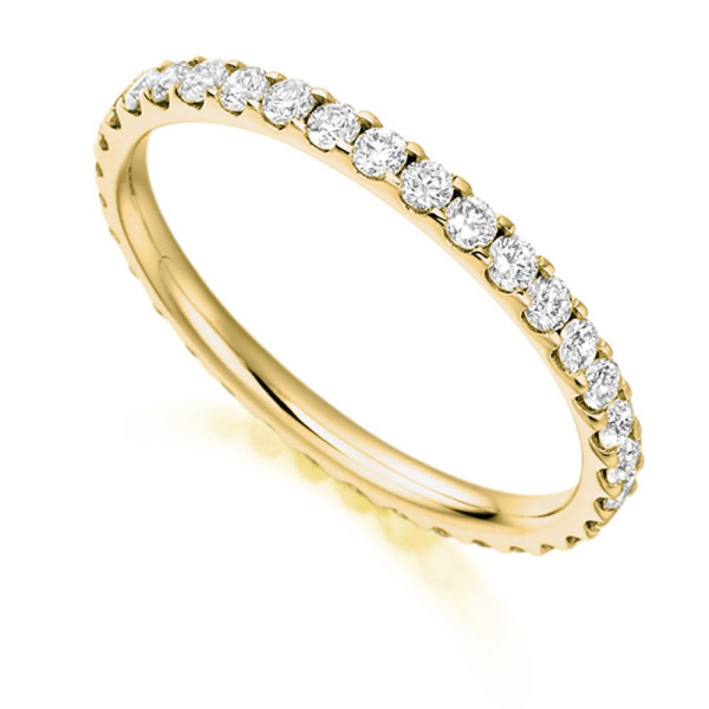 0.75ct Claw Set Full Diamond Eternity Ring In Yellow Gold