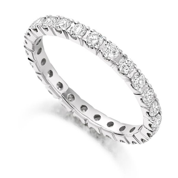 1 Carat Round Diamond Full Eternity Ring Claw Setting Main Image