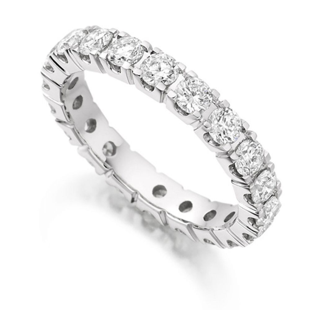 2 Carat Round Diamond Full Eternity Ring Claw Setting