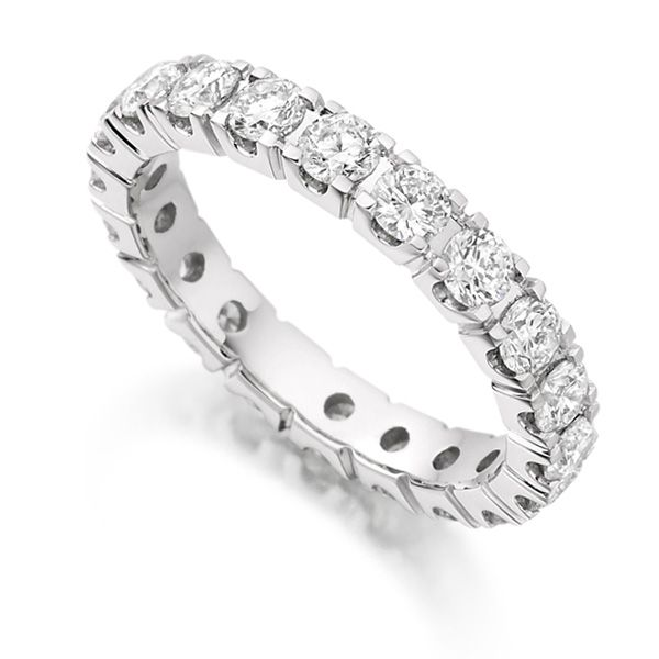 2 Carat Round Diamond Full Eternity Ring Claw Setting Main Image