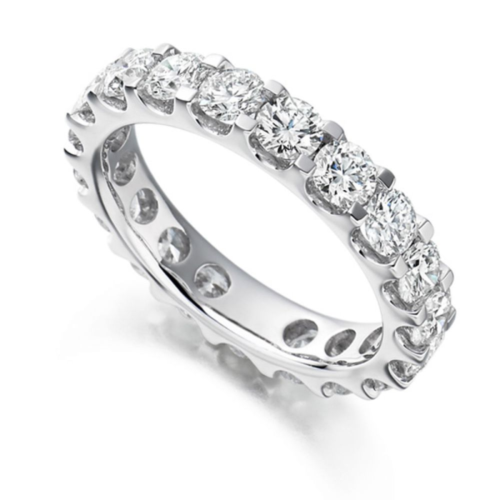 3 Carat Round Diamond Full Eternity Ring Claw Setting