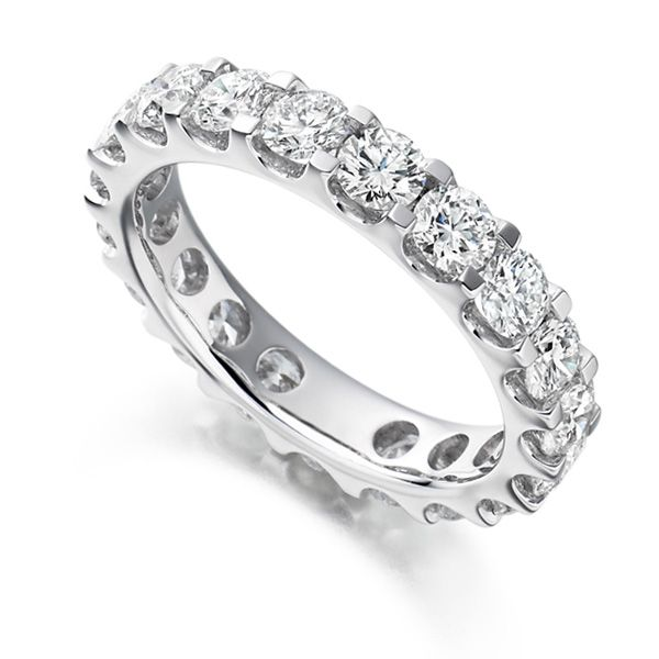 3 Carat Round Diamond Full Eternity Ring Claw Setting Main Image