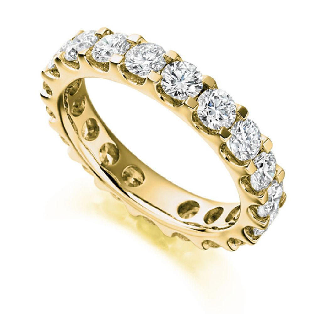 3 Carat Round Diamond Full Eternity Ring Claw Setting In Yellow Gold