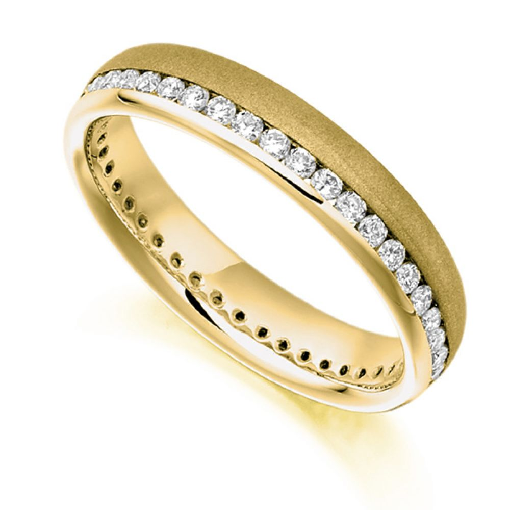 0.50ct Round Diamond Full Eternity Ring Satin Finished In Yellow Gold