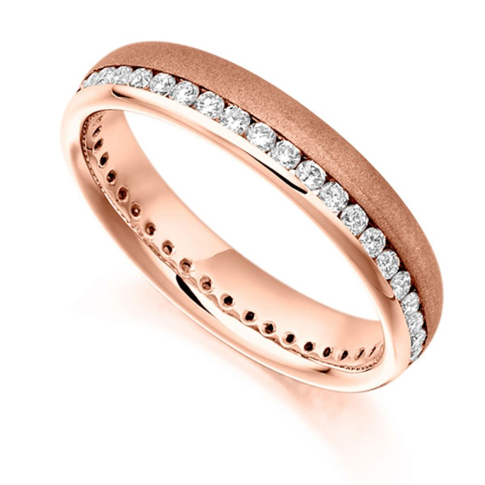 0.50ct Round Diamond Full Eternity Ring Satin Finished In Rose Gold