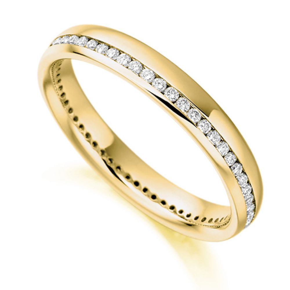 0.31cts Round Diamond Offset Channel Eternity Ring In Yellow Gold