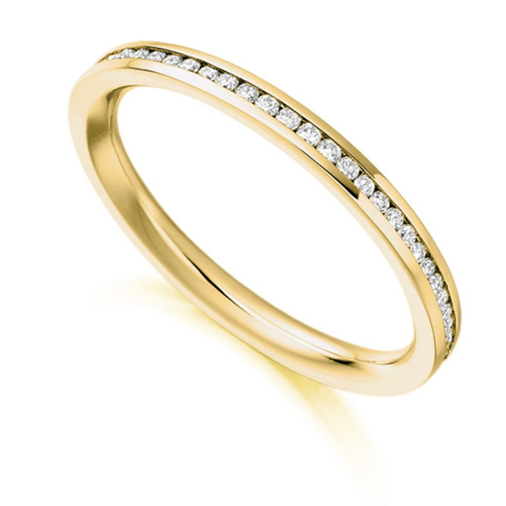 0.33cts Fully Channel Set Round Diamond Eternity Ring In Yellow Gold