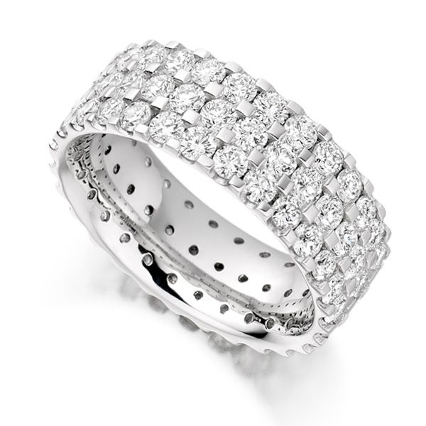 3 Carat 3 Row Pavé Set Full Diamond Eternity Ring Main Image
