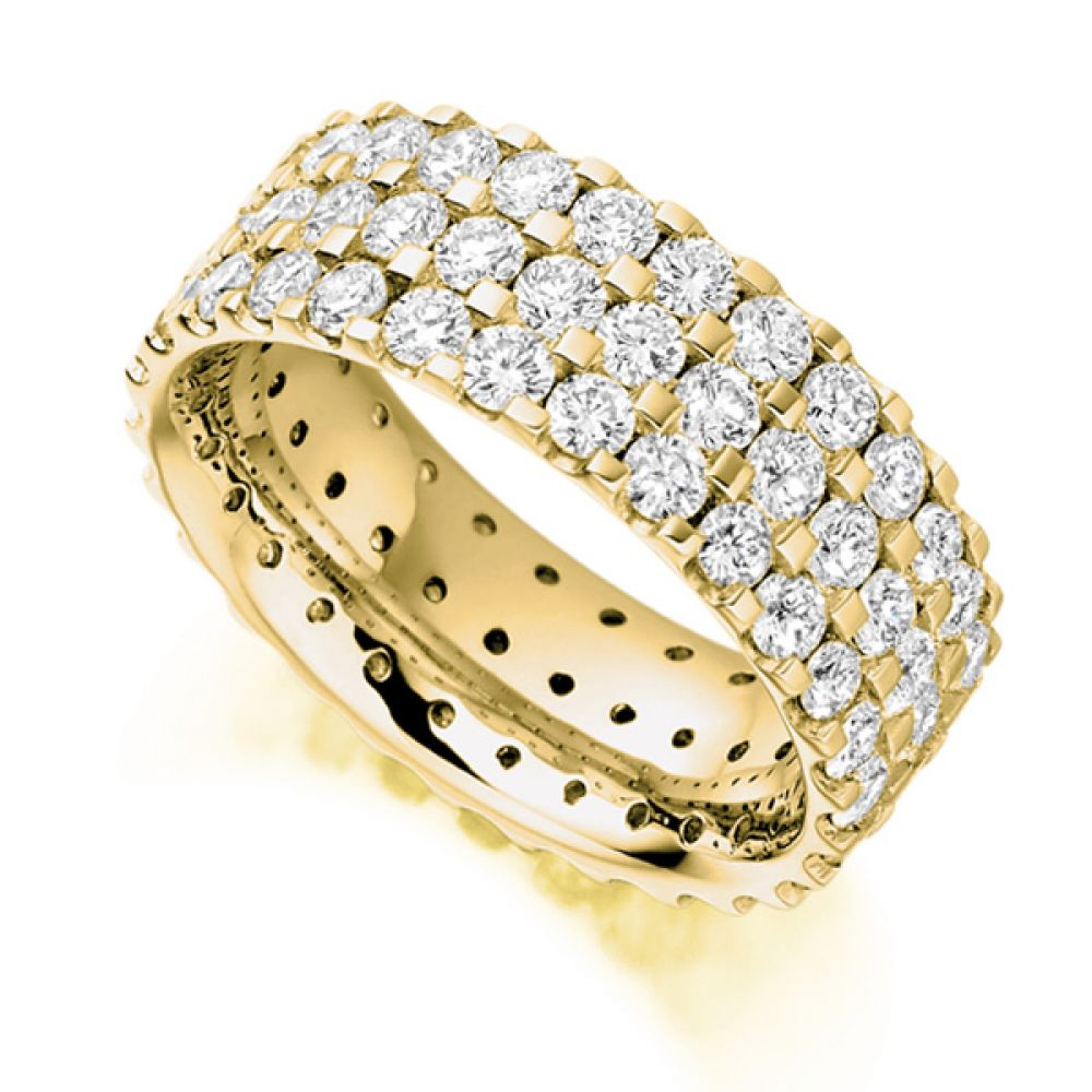 3 Carat 3 Row Pavé Set Full Diamond Eternity Ring In Yellow Gold