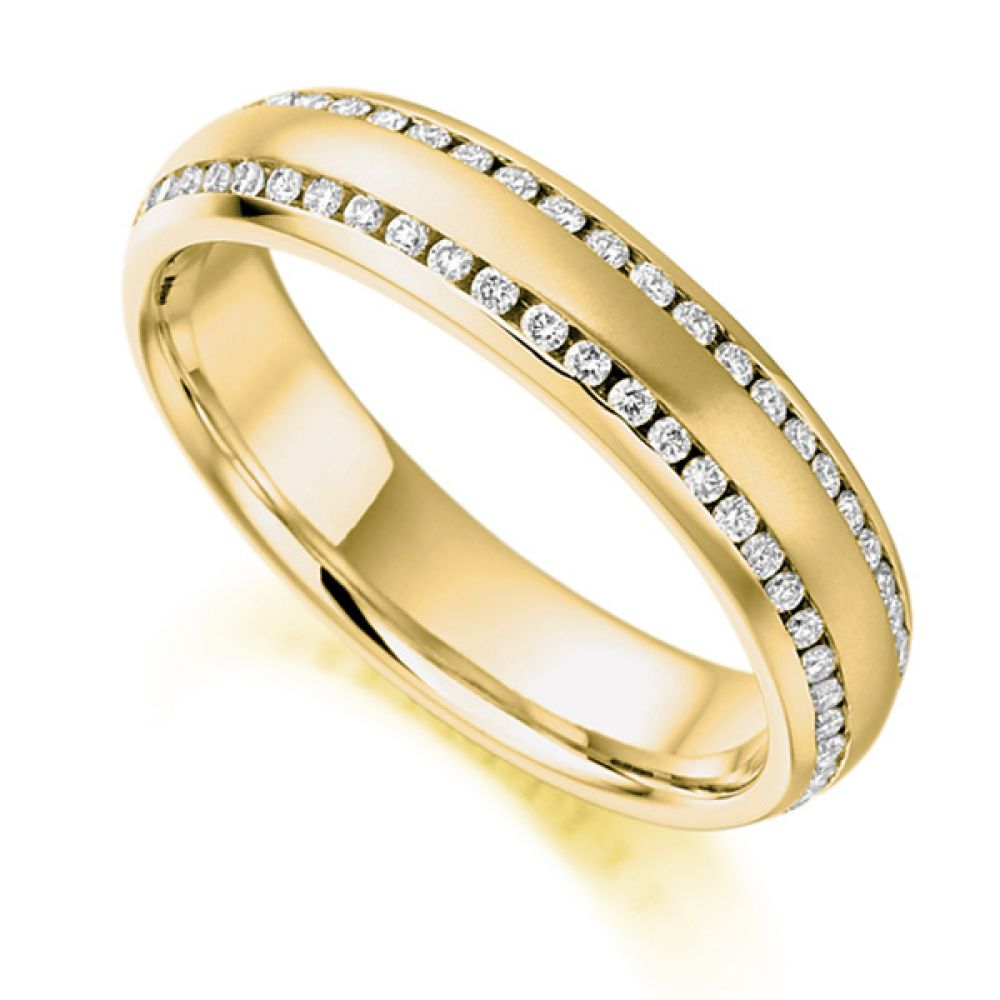 0.50ct Double Edged Channel Set Diamond Eternity Ring In Yellow Gold