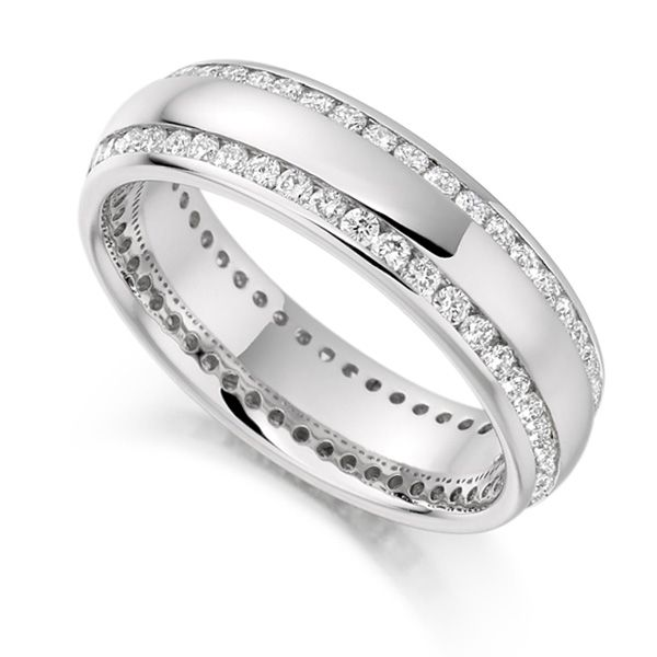 1 Carat Double Edge Channel Full Diamond Eternity Ring Main Image