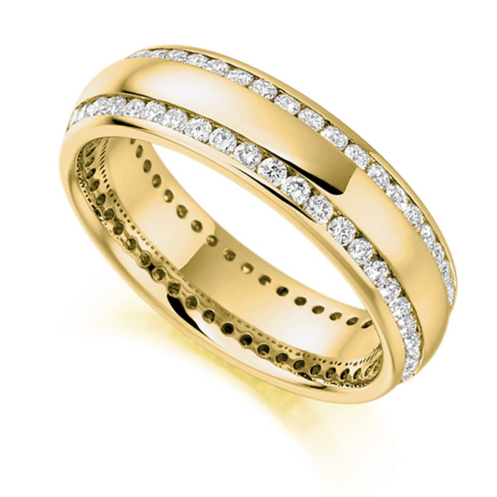 1 Carat Double Edge Channel Full Diamond Eternity Ring In Yellow Gold