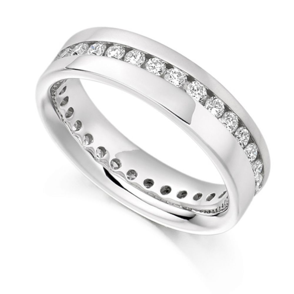0.77ct Full Diamond Eternity Ring with Diagonal Channel Setting