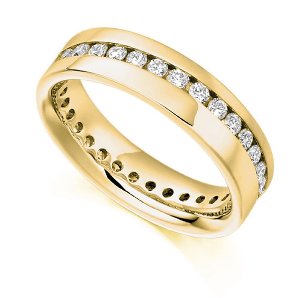 0.77ct Full Diamond Eternity Ring with Diagonal Channel Setting In Yellow Gold