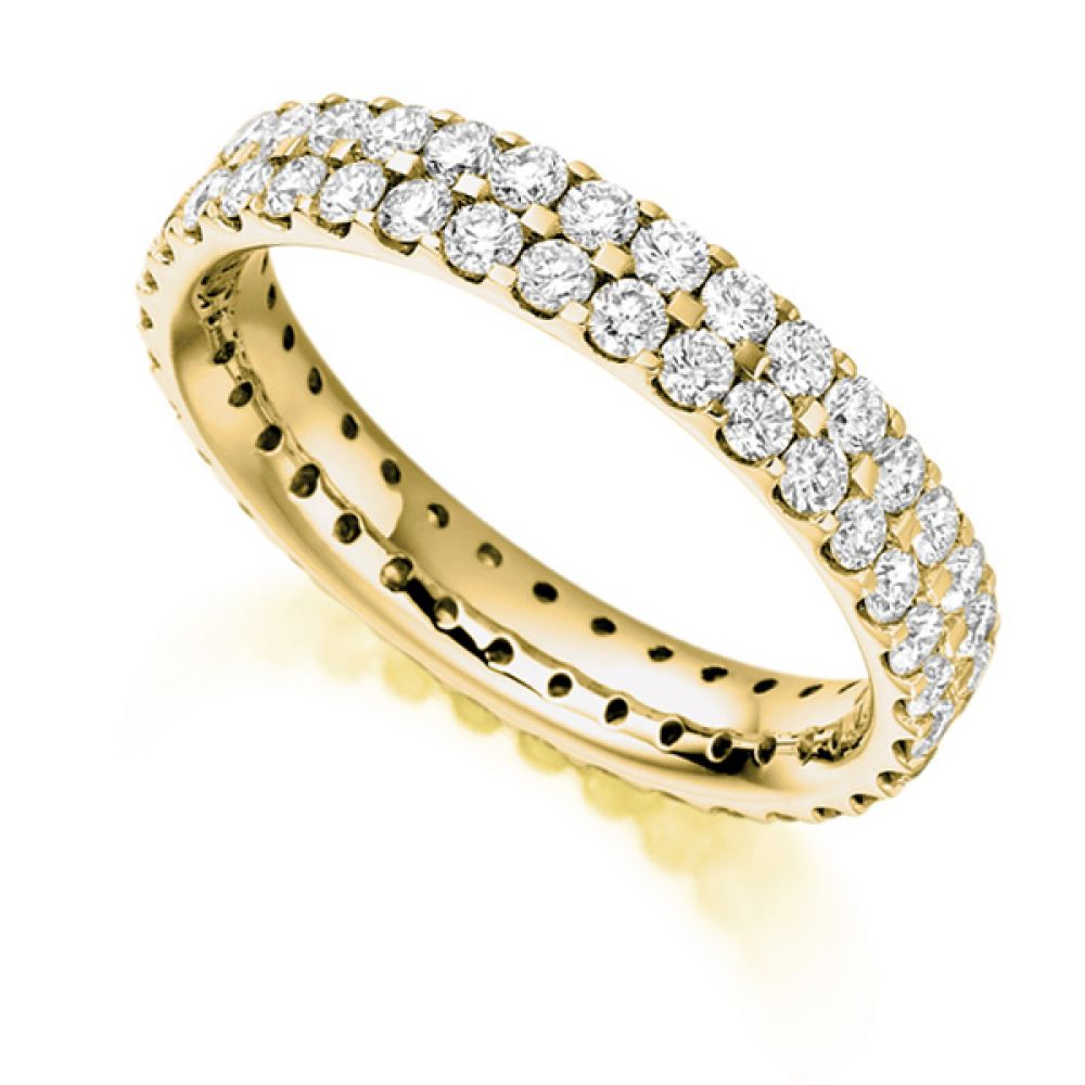 1.50ct 2 Row Pavé Set Full Diamond Eternity ring In Yellow Gold
