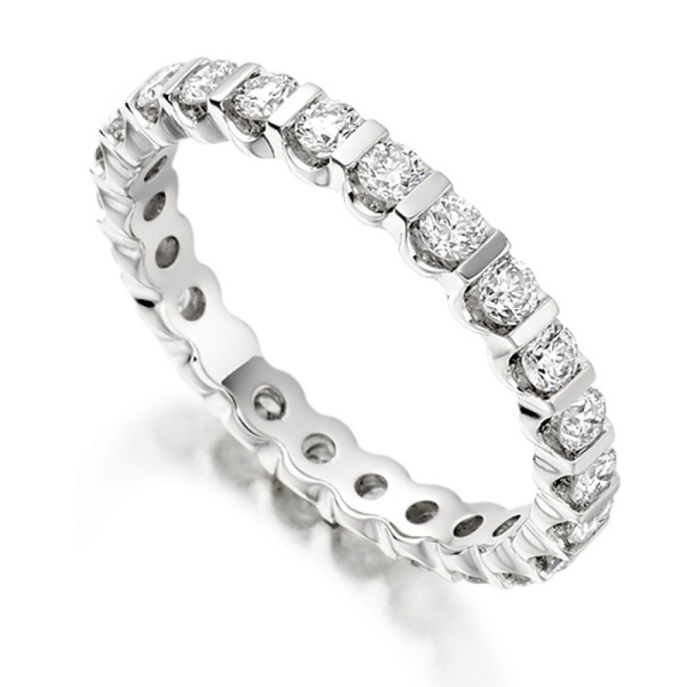 1 Carat Bar Set Round Diamond Full Eternity Ring