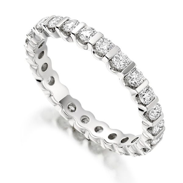 1 Carat Bar Set Round Diamond Full Eternity Ring Main Image