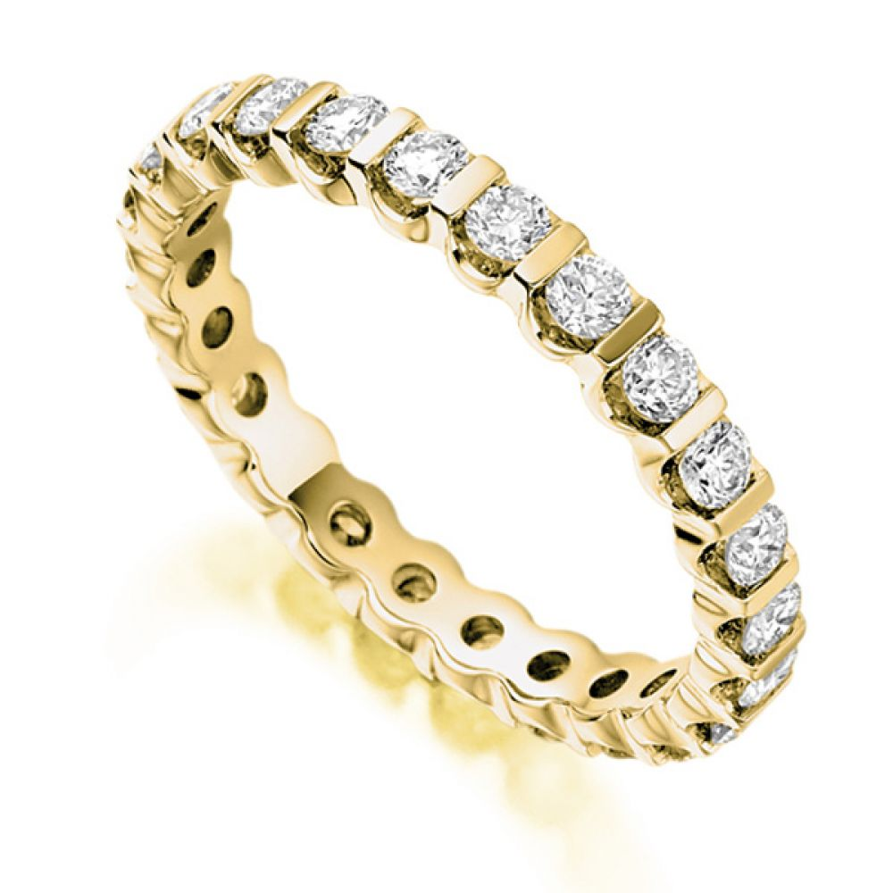 1 Carat Bar Set Round Diamond Full Eternity Ring In Yellow Gold