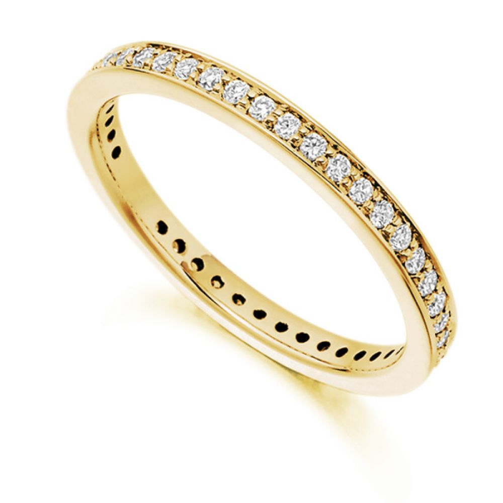 0.40ct Channel & Grain Set Full Diamond Eternity Ring In Yellow Gold