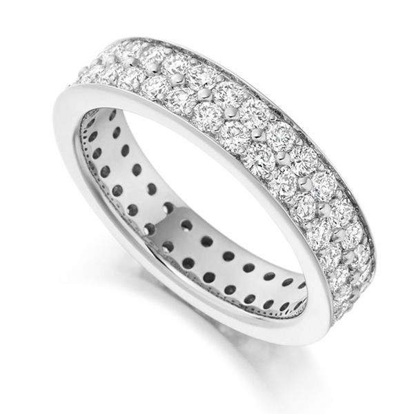 2 Carat 2 Row Grain Set Full Diamond Eternity Ring Main Image
