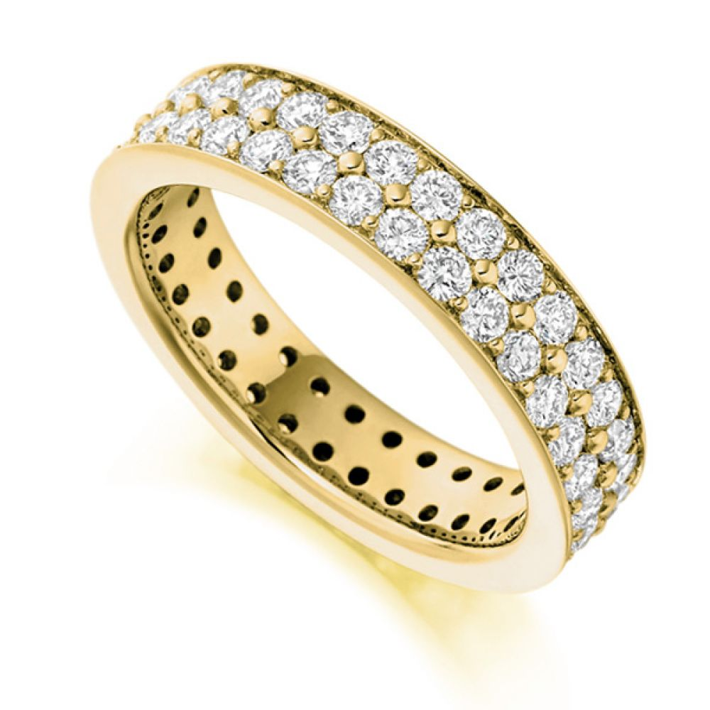 2 Carat 2 Row Grain Set Full Diamond Eternity Ring In Yellow Gold