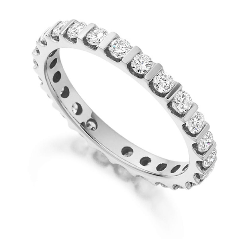 1 Carat Round Diamond Full Eternity Ring Bar Setting