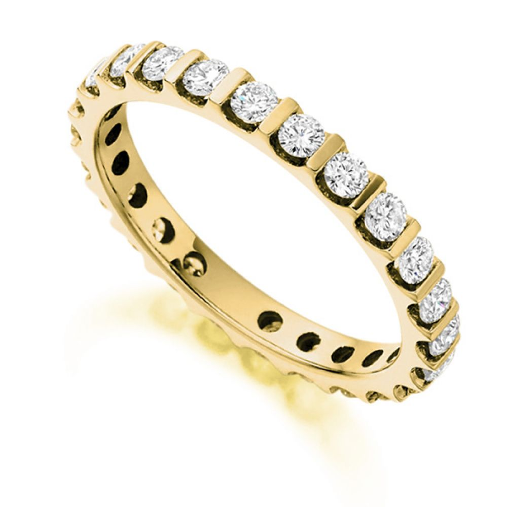 1 Carat Round Diamond Full Eternity Ring Bar Setting In Yellow Gold
