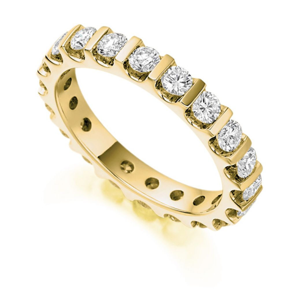1.50cts Full Diamond Eternity Ring with Bar Setting In Yellow Gold