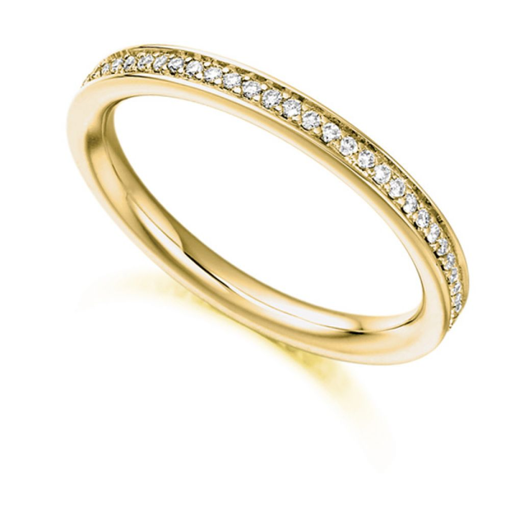 0.30cts Grain Set Diamond Full Eternity Ring In Yellow Gold