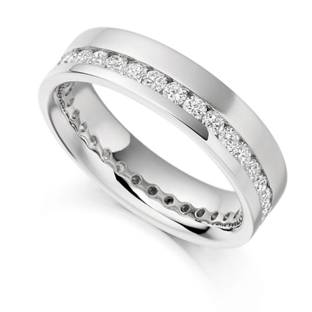 1 Carat Offset 5.2mm Wide Diamond Eternity Ring