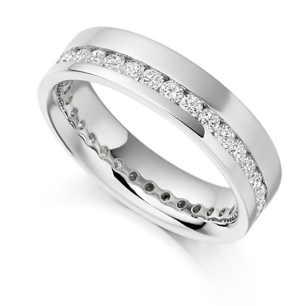 1 Carat Offset 5.2mm Wide Diamond Eternity Ring Main Image