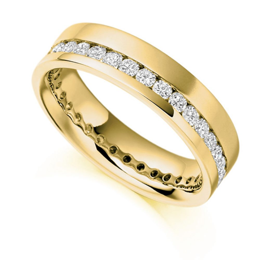 1 Carat Offset 5.2mm Wide Diamond Eternity Ring In  Yellow Gold