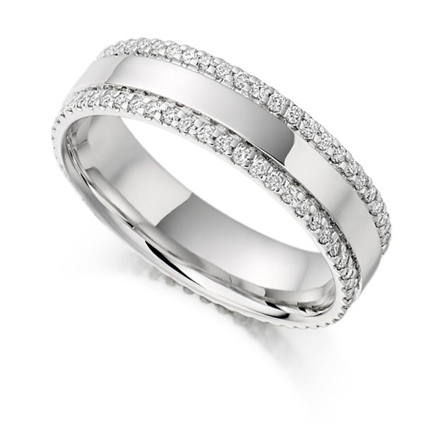 0.55cts Double Pavé Edge Full Diamond Eternity Ring Main Image