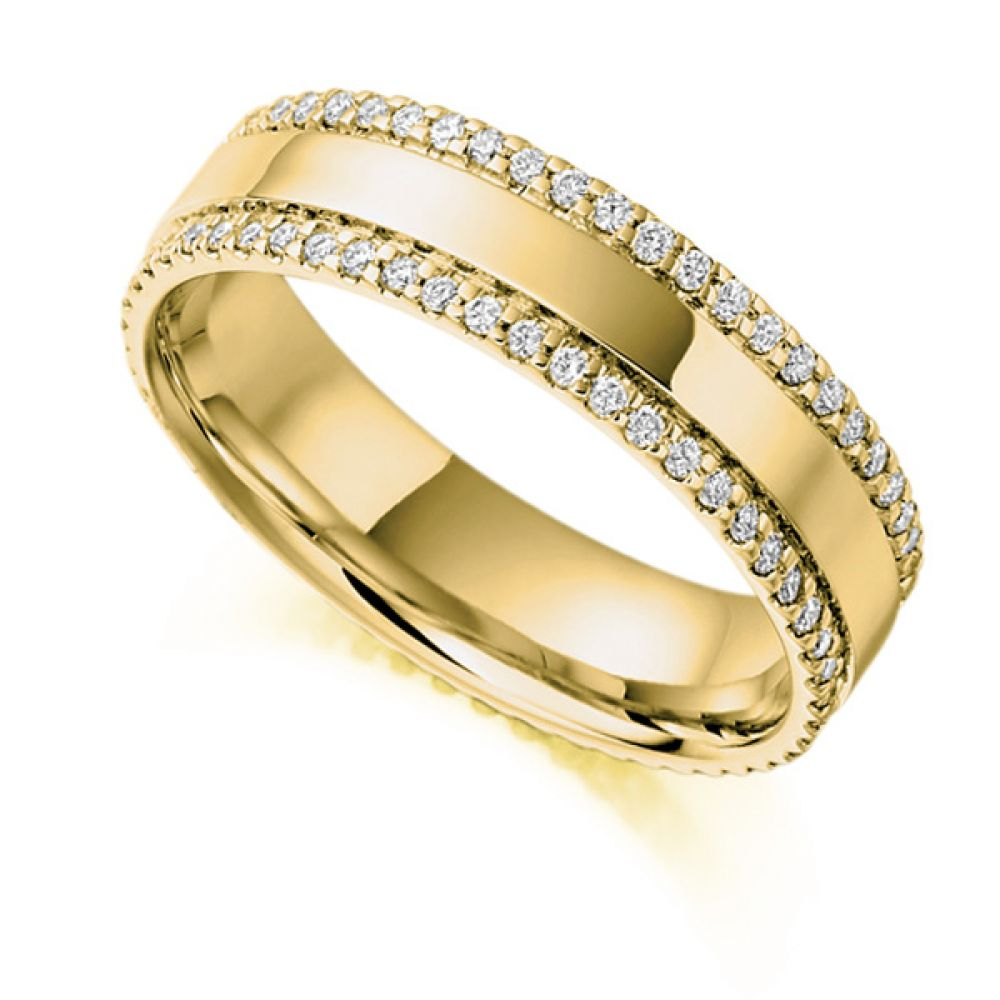 0.55cts Double Pavé Edge Full Diamond Eternity Ring In Yellow Gold