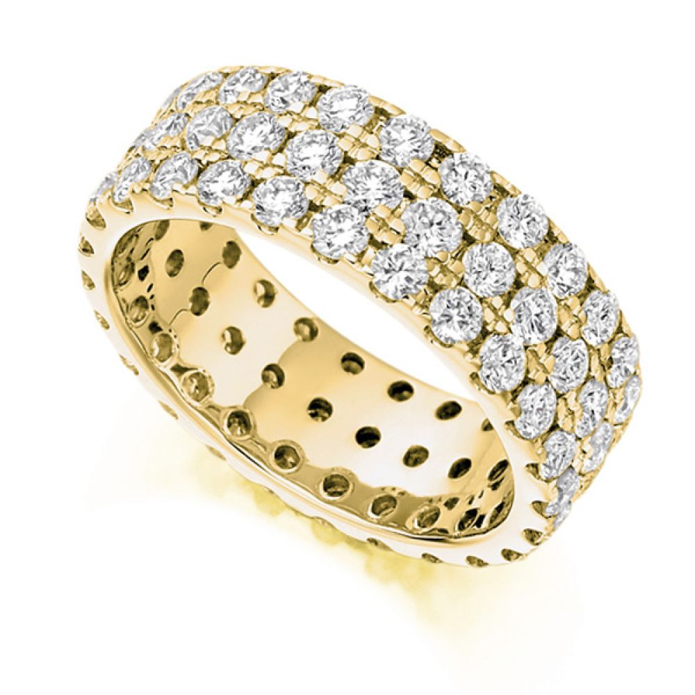3 Carat 6.75mm Fully Pavé Set Diamond Band In Yellow Gold