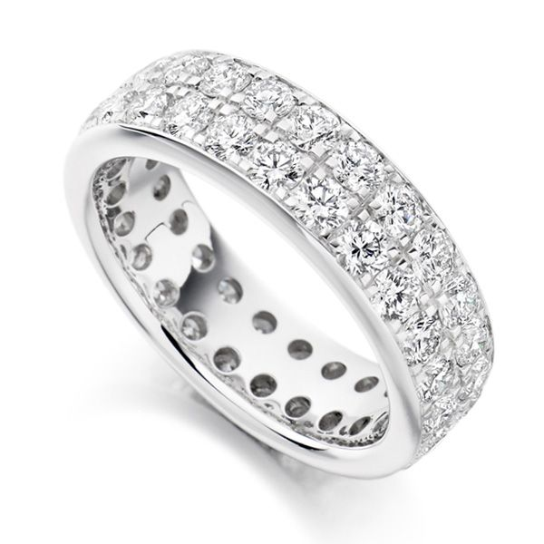 3.10ct 2 Row Pavé Set Full Diamond Eternity Ring Main Image