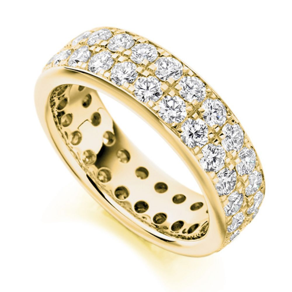 3.10ct 2 Row Pavé Set Full Diamond Eternity Ring In Yellow Gold