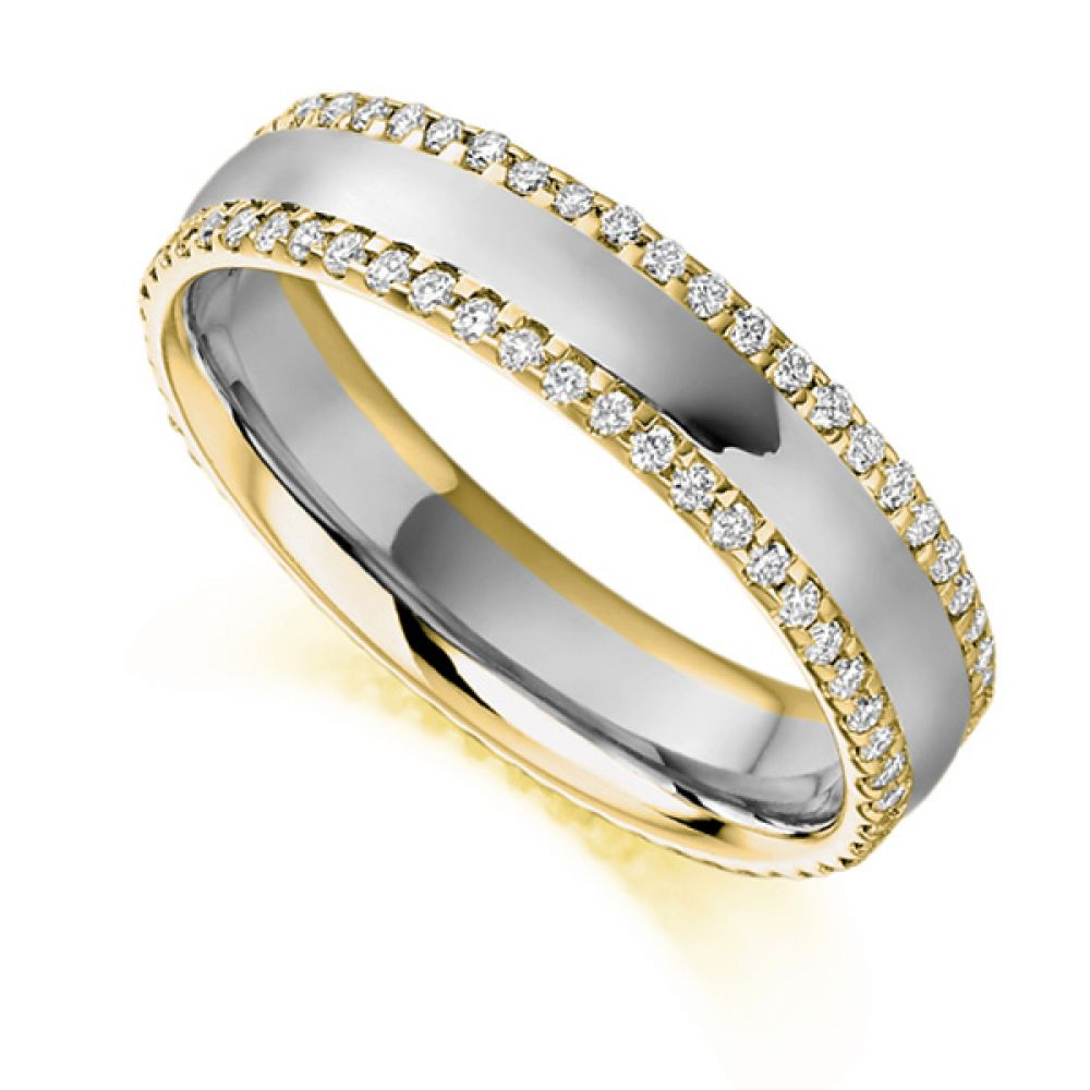 0.55cts Diamond Edged Full Eternity Ring In Yellow Gold