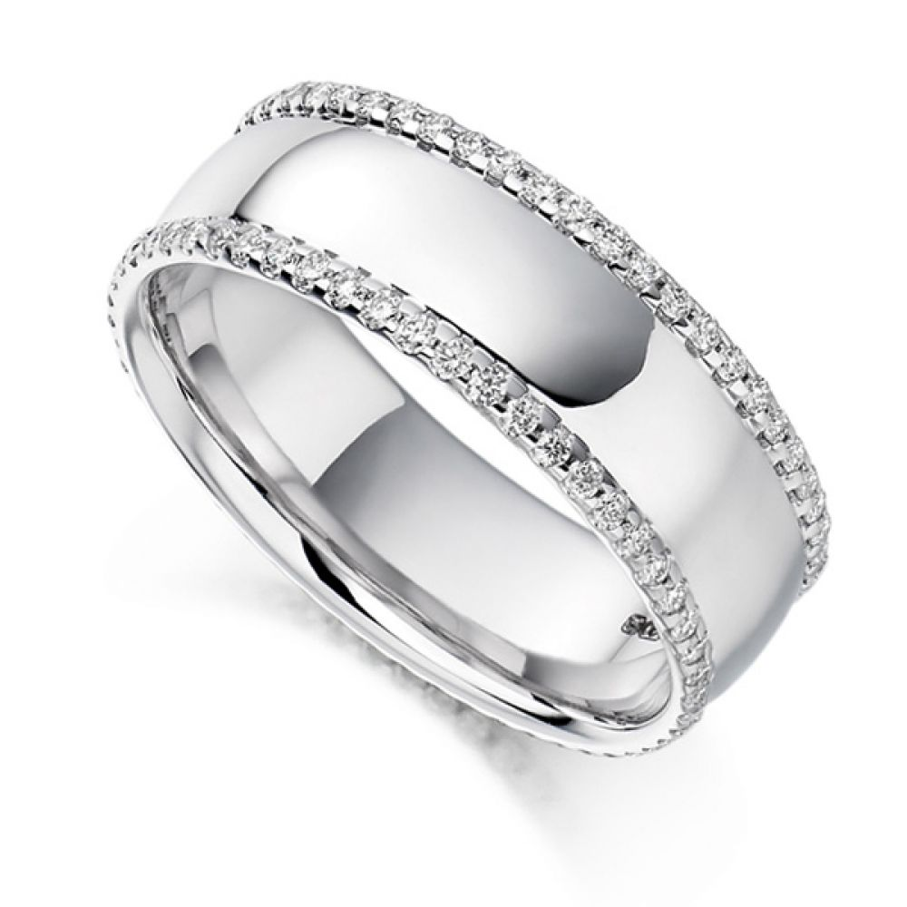 0.55cts Wide 6.8mm Diamond Edged Full Eternity Ring