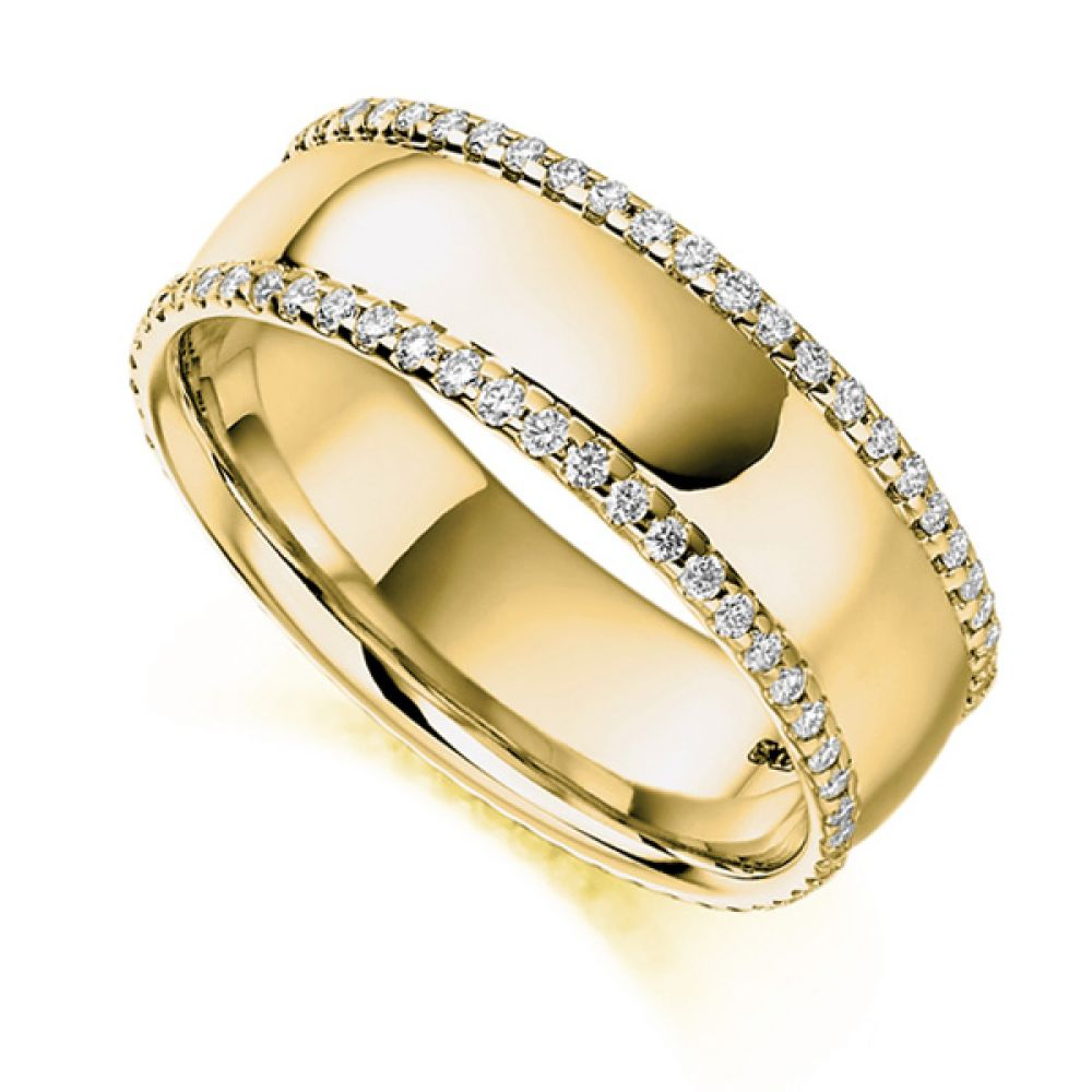 0.55cts Wide 6.8mm Diamond Edged Full Eternity Ring In Yellow Gold