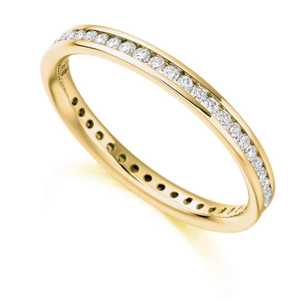 0.41cts Full Diamond Eternity Ring with Channel Setting In Yellow Gold