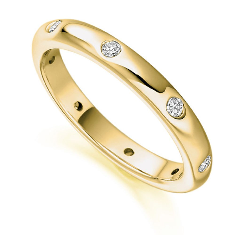 0.24ct Flush Set 3mm Full Diamond Eternity Ring In Yellow Gold