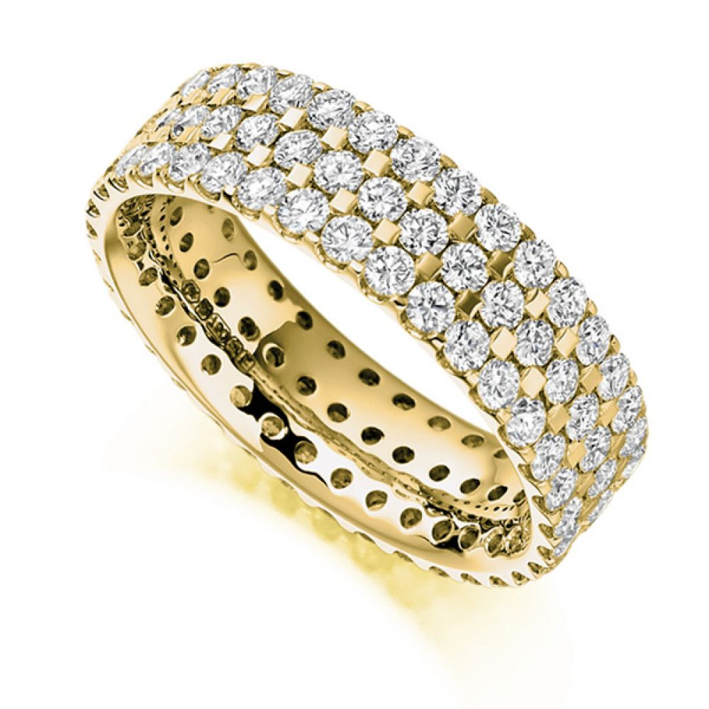 2.5ct 3 Row Pavé Set Full Diamond Eternity Ring In Yellow Gold