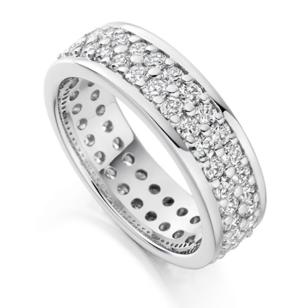2 Carat Wide 6mm Double Row Full Eternity Ring
