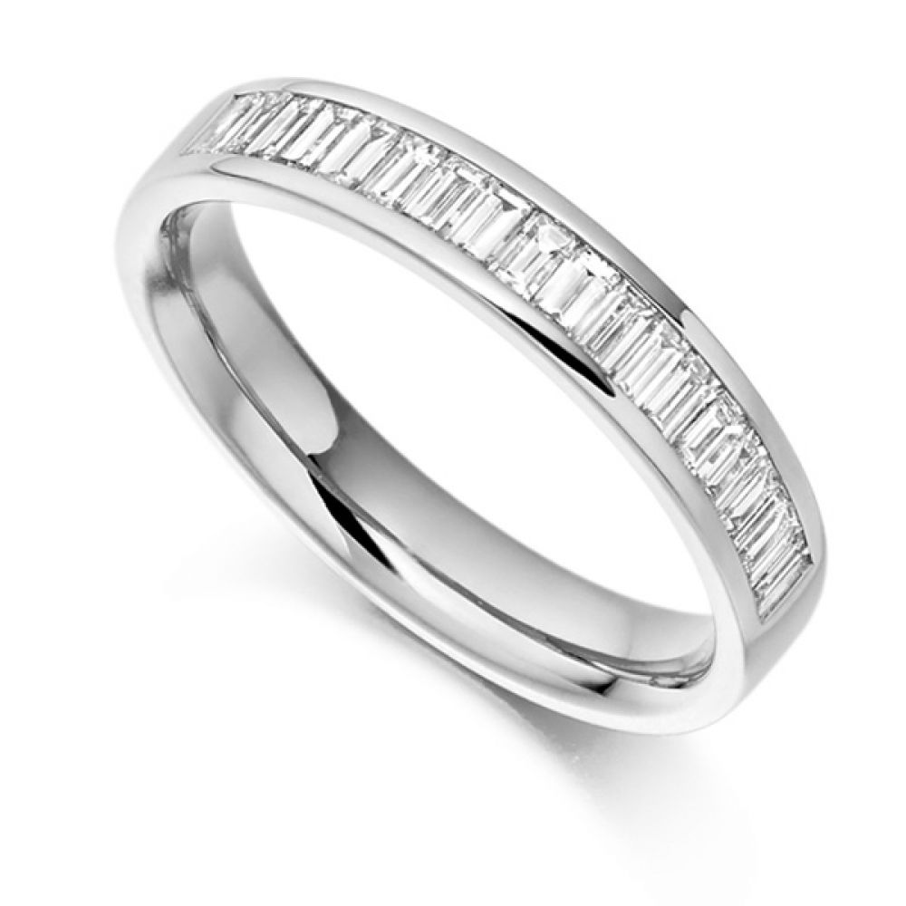 0.56cts Cross Set Baguette Half Diamond Eternity Ring