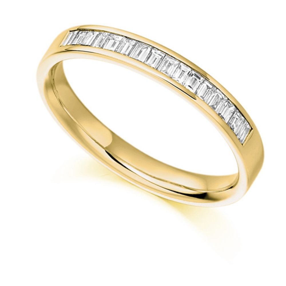 0.33cts Baguette Diamond Half Eternity Ring In Yellow Gold