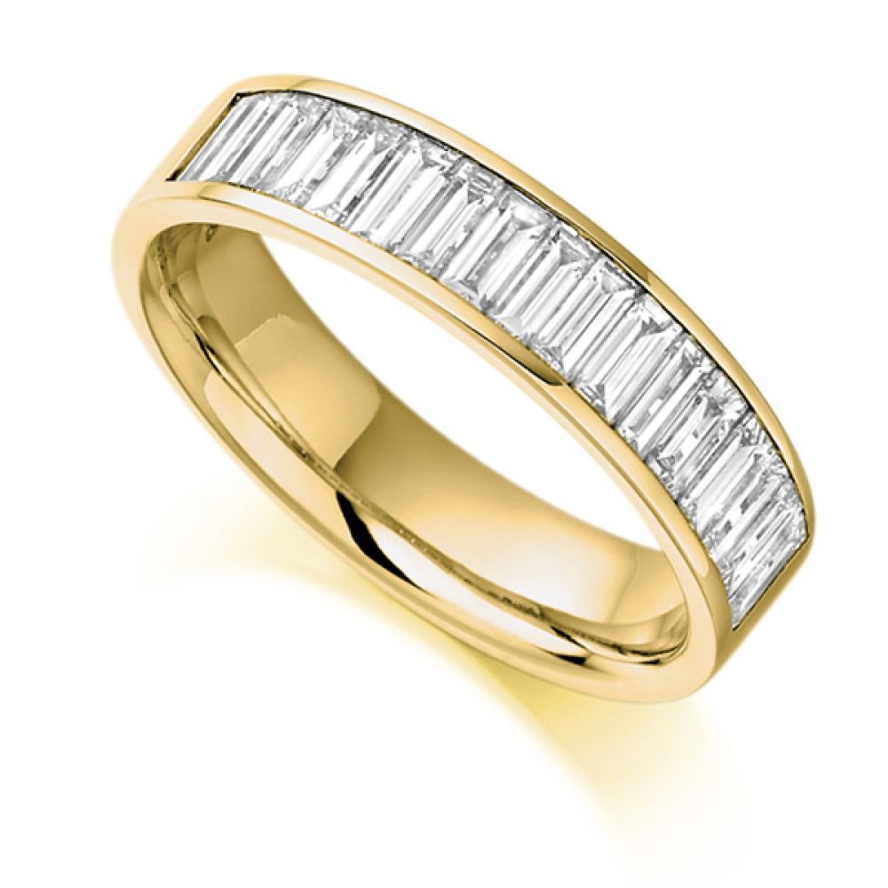 1 Carat Channel Set Baguette Half Eternity Ring In Yellow Gold
