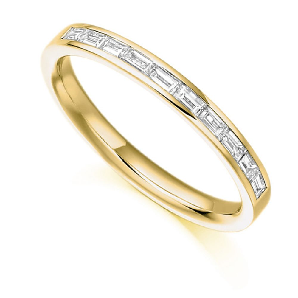 0.30cts Baguette Diamond Half Eternity Ring In Yellow Gold