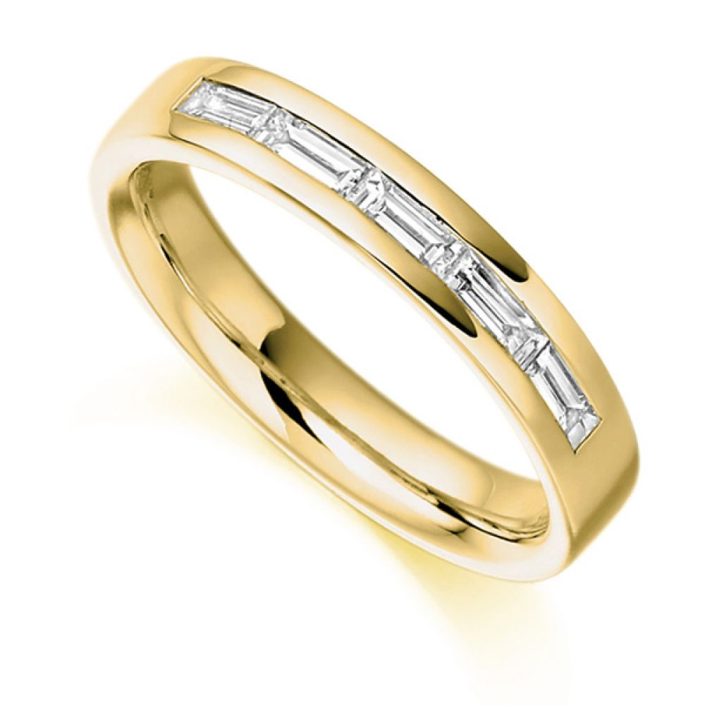 0.30cts Baguette Cut 5 Stone Diamond Ring In Yellow Gold