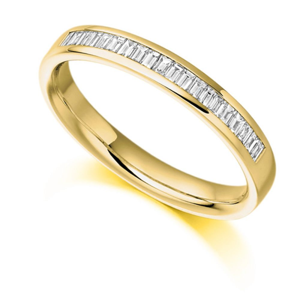 0.25cts Half Channel Set Baguette Diamond Eternity Ring In Yellow Gold